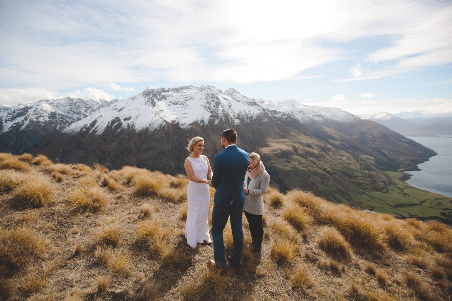 First day of spring Queenstown heli-wedding