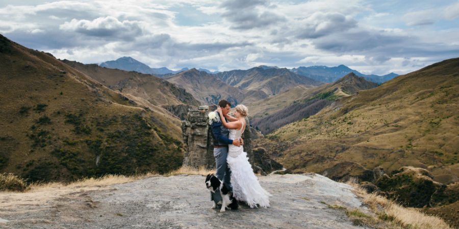 Brad & I with Marley at Skippers Canyon on our big day