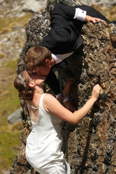 adventure wedding queenstown bouldering bride and groom