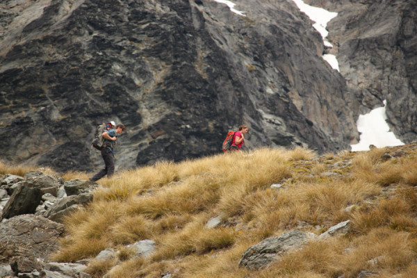 adventure wedding queenstown bride and groom hike