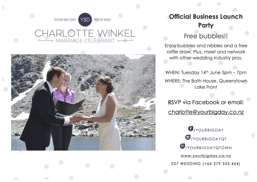 Queenstown Marriage Celebrant Your Big Day Business Launch Invite