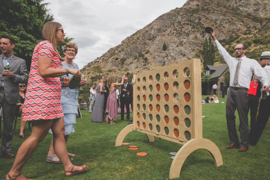 Brad made a giant connect 4 to keep our guests entertained