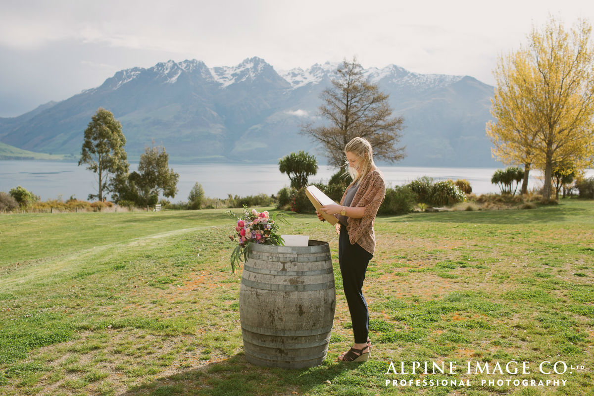 Signing the marriage paperwork by Lake Wakatipu