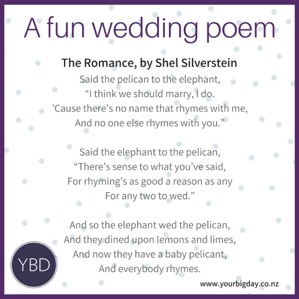 3 Fun Poems For Your Wedding Ceremony