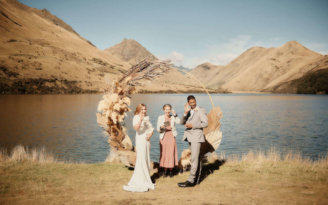 elopement wedding at Moke Lake with hoop ceremony arch