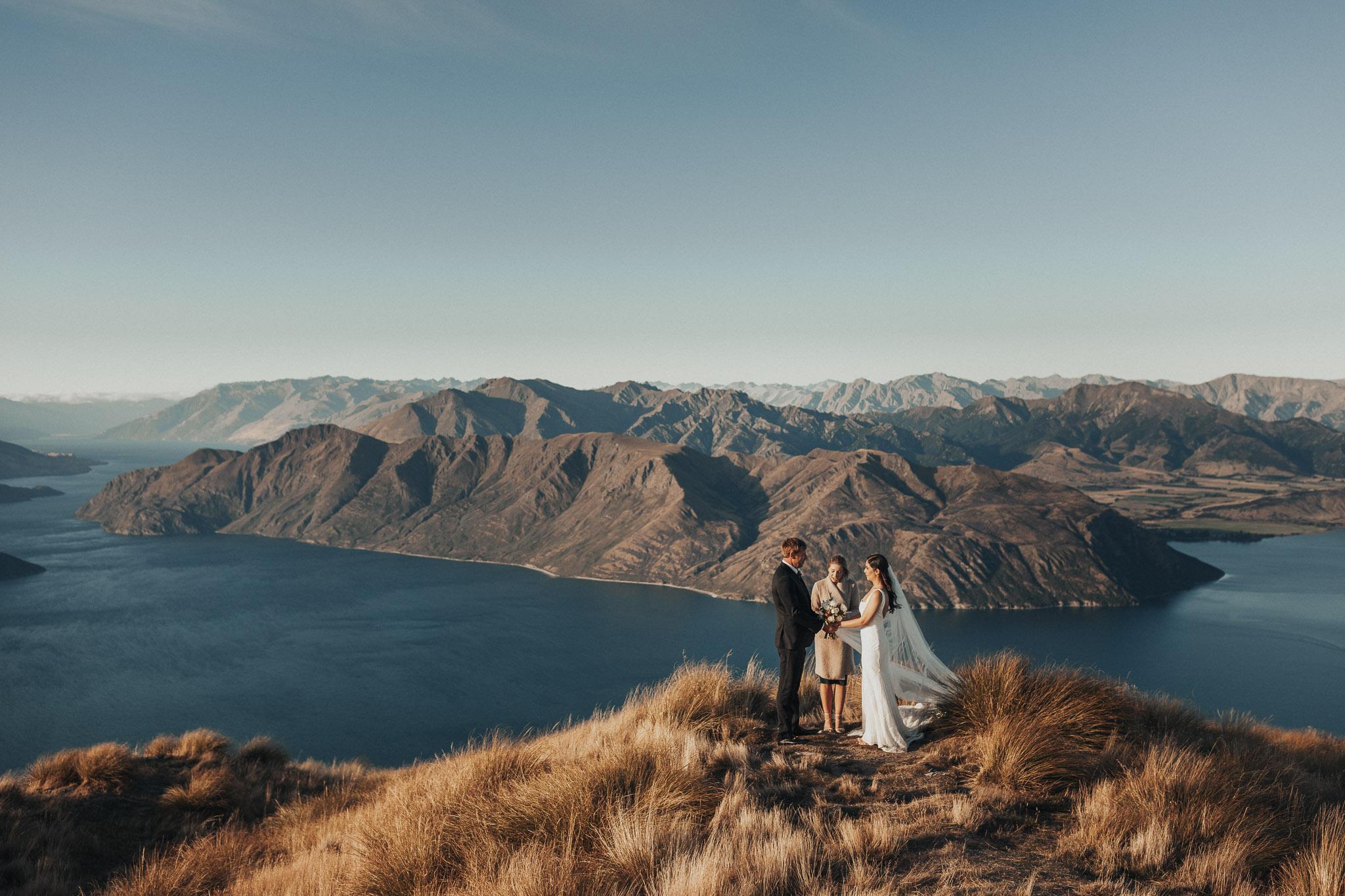 Wedding elopement ceremony at Coromandel Peak Wanaka Queenstown