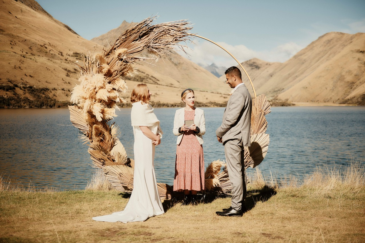 wedding ceremony at Moke Lake Queenstown New Zealand